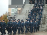 Delta Police filing out to form up.