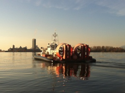 Hovercraft returning to base after lending a hand.
